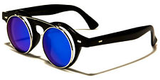 Retro Style Steampunk Vintage Round Cool Flip Up UV 400 Sunglasses w/FREE Pouch