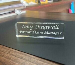 PERSONALISED NAME DESK PLATE / PLAQUE / SIGN 10 CM W x 3 CM H x 12 MM D