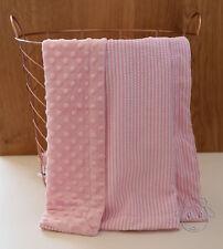 Pink Seersucker Dot Minky Baby Blanket Stroller Pram Crib Shower Gift