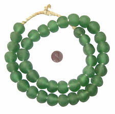Light Green Recycled Glass Beads 18mm Ghana African Sea Glass Round Large Hole