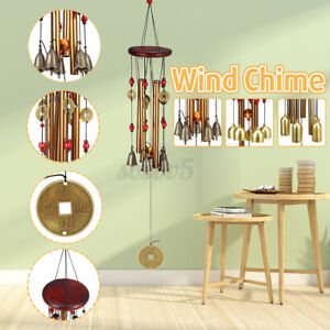 Solid Wood Bronze Wind Chimes Hanging Ornament Yard Garden Decor Gift  *