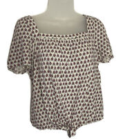 Lucky Brand Womens Size S/P Tie Front Boho Top Pink Floral Print Square Neck