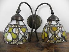 Lampada Applique da parete in ottone anticato brunito vetro stile TIFFANY Design