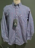 Ariat Pro Series Men's Button-down Plaid Micro Check Red White Blue Shirt Size M