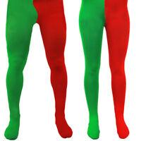 ADULT ELF TIGHTS RED GREEN CHRISTMAS SANTA LITTLE HELPER WORKER XMAS MENS LADIES