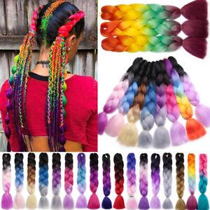 Kanekalons Jumbo Braiding Hair Extensions Afro Box Braids Ombre Rainbow Pink F