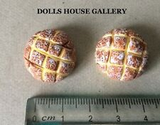 Pair Of Round Loaves, Dolls House Miniature Bread, 1.12 Scale Food