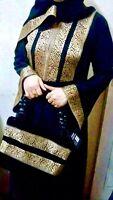 NEW DUBAI Abaya SILK/L/XL/2XL/3XL SIZE Elegant.Embroidered Dress WITH BAG&SCARF