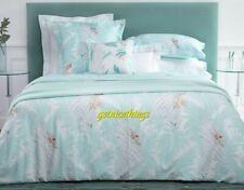 Yves Delorme Sources Aqua Blue Duvet Cover & 2 Standard Shams 3PC Set Floral New