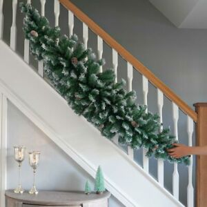 1.8m Artificial Green Frosted Christmas Garland | Indoor Fireplace Decoration