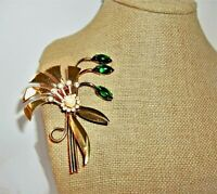 LARGE Gold Plated Pin Brooch Floral Spray Vintage Retro CORO Green Cabochon