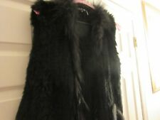 Ladies Vest Real Dyed Rabbit / Raccoon Fur , Dolce Cabo , Size M , Black