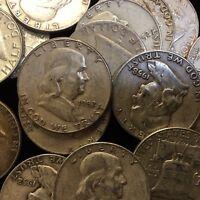 """90% Silver Franklin Half Dollars Benjamin Franklin Halves $1 Face Value """"Junk"""""""