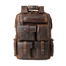 """Große Herren Leder 15,6""""Notebook Rucksack Handtasche Camping Outdoor Reisetasche"""