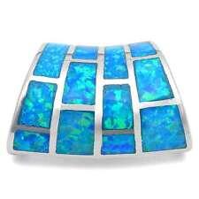 Blue Australian Opal Slide .925 Sterling Silver Pendant