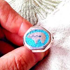 Vintage Bear Turquoise Inlay Ring Silver White Bronze Size 10.5