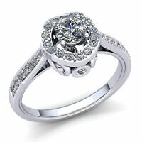 0.75ct Round  Diamond Ladies Halo Solitaire Engagement Ring 18K Gold