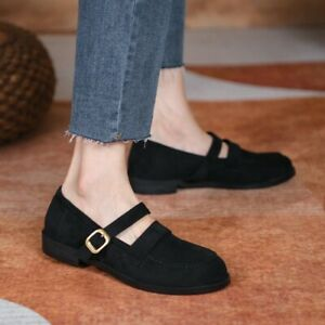 Stylish Casual Mary Jane Buckle Strap Shoes Loafers Womens Round Toe Court Shoes