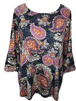 Womens Cocomo 2X Soft Paisley Bell Sleeve Top Pink Orange Black