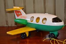 Vintage Fisher Price Little People #182 Jet Liner Air Plane Pull Toy White Green
