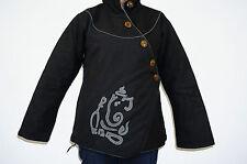 Jacket ladies Hippy india sweater coat hoodie tibetan hippie Ganesha Size 10
