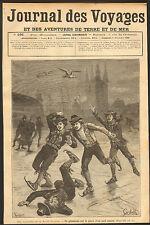 MUIDEN (NL) VACANCES DE SAINT-NICOLAS PATIN A GLACE IMAGE DE 1888
