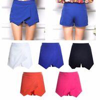 Sexy Women Irregular Laminated Flanging Skort Culotte Wrap Mini Skirt Short Pant