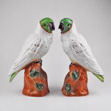 2 X Perroquet - Paire - Couples - Porcelaine / Céramique - Cacatoès - 33cm -