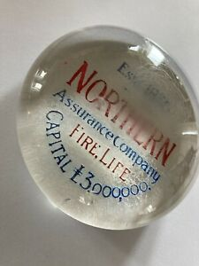 VINTAGE GLASS ADVERTISING PAPERWEIGHT - Northern Assurance Company Fire & Life.