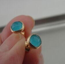 Hadar Designer Handmade 14k Yellow Gold Fil 6mm Blue Ocean Q Stud Earrings (v