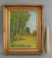 Antique CHARLES WARREN EATON American Landscape Oil Painting Birch Trees Church