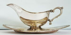 Vintage Ranleigh Sauce Boat + Underplate ~ Mid Century Ranleigh silverware 1940s