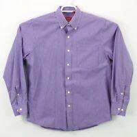 Izod Button Up Shirt Men's Size Medium Long Sleeve Purple White Check Weave euc