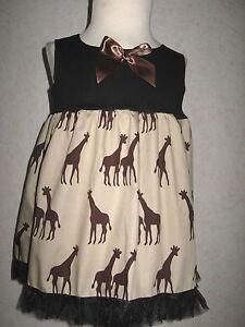 Giraffe Baby Shower gift Party Girls Black Brown Smock Top Dress Retro holiday