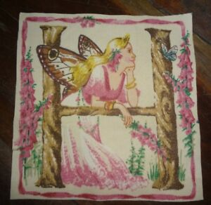 "Gorgeous Vintage Fairy Letter ""H"" Acrylic Coated Fabric Panel (14.5cm x 15cm)"