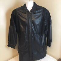 Wilsons Leather Pelle Studio Black Leather Jacket Size Large Embossed Pattern FS
