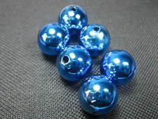 6 PERLINE ACRILICO TONDO 16mm blu perle NUOVO 7516