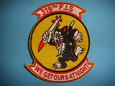 """KOREA WAR PATCH USAF 319th FIGHTER INTERCEPTOR SQ  """" WE GET OUT AT NIGHT """""""