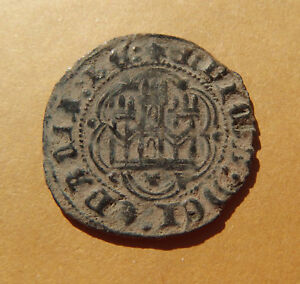ANTIQUE MEDIEVAL COIN SPAIN KING HENRY III 14th century