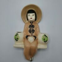 Vintage Weil Ware California Pottery Asian Lady Wall Pocket Planter Double Vase