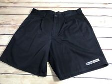 Antigua Mens Size 34 Black Long Casual Shorts Logo Oregon State Patch Pleated