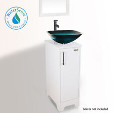 """13"""" Bathroom Vanity W/Square Vessel Glass Turquoise Sink Bowl Faucet Drain Combo"""
