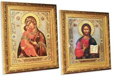 Catholic Orthodox Icons Wooden Madonna and Child Christ Wedding Set 10 1/4 Inch