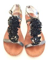 "Coach Women's Silver Grey Black Leather ""Rose"" Open Toe Sandals Size 7B"