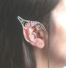 Handmade Silver Plated Pink Seed Bead Elf Ear Cuffs With Pink Glass Beads