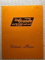 DENVER & RIO GRANDE WESTERN RAILROAD 1970 HEAVY PAPER DINNER MENU-COLORADO