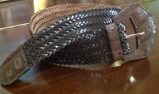 Vtg LASSO France Wide Belt Woven Braided Brown Leather Genuine Alligator Buckle