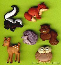 Forêt Bébés renard hibou Cerf Hérisson mouffette écureuil bébé Dress It Up Craft Bouton