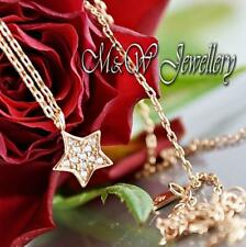 925 Sterling Silver Rose Gold Plated Chain Necklace Pendant STAR WITH ZIRCONIA