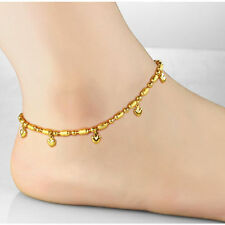 18K Yellow Gold Filled Jewelry Gift Anklet Hearts Beads Link Chain Women's Real